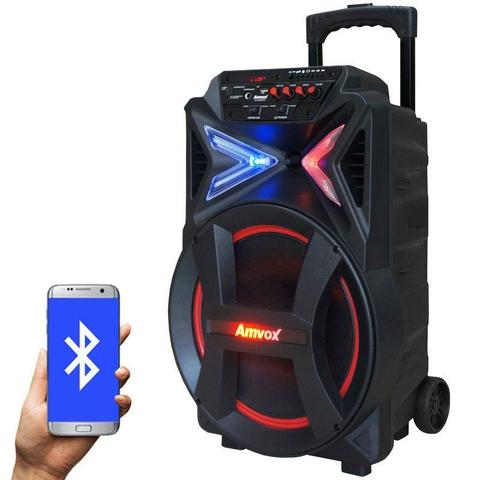 Imagem de Caixa Som Amplificada Portátil Bluetooth 290W Rms Mp3 Fm Usb Sd Aux Led Bateria Amvox ACA 292 NEW