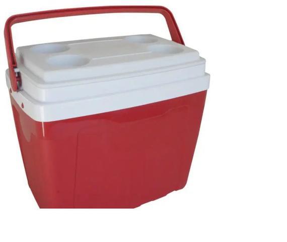 Imagem de Caixa Térmica 34 Litros Com Alça E Porta Copos  Antares Vermelha