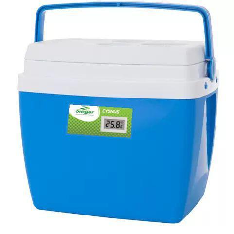 Imagem de Caixa térmica de 32 litros AZUL com termômetro digital acoplado