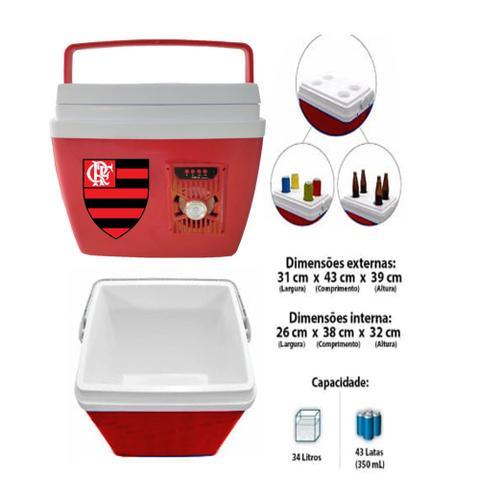 Imagem de Caixa Térmica Flamengo Com Som Bluetooth 34 Litros