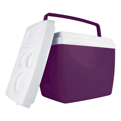 Imagem de Caixa Térmica Roxa 34 Litros 50 latas Com Alça e Porta Copos Mor