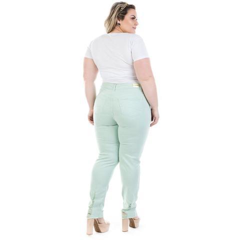 Imagem de Calça Feminina Jeans Cigarrete Color Destroyed Plus Size