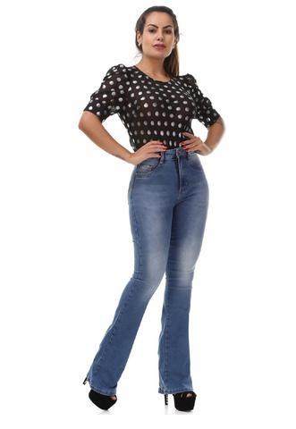 Imagem de Calça Feminina Jeans Flare Com Cinta Modeladora Sawary Azul