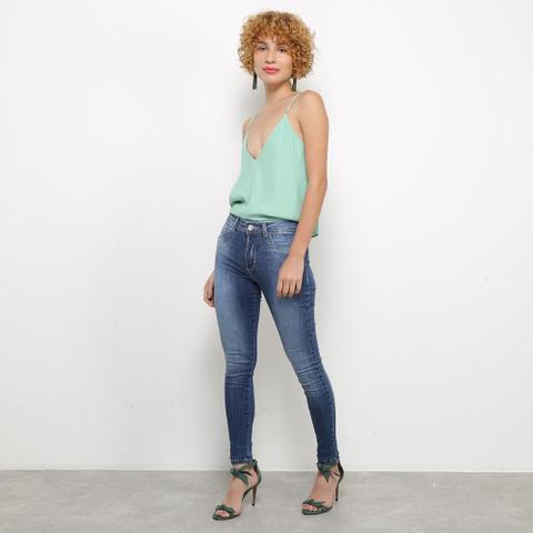 Imagem de Calça Jeans Cigarrete Sawary Estonada Cintura Média Feminina