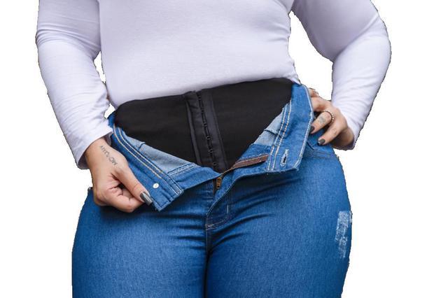Imagem de Calça Jeans Lycra Cinta Modeladora  Skinny Plus Size Ref 140