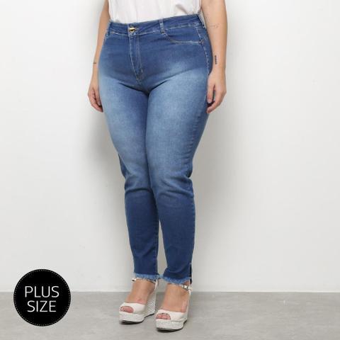 Imagem de Calça Jeans Sawary Cigarrete Estonada Plus Size Feminina
