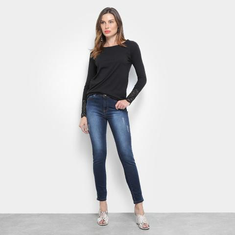 Imagem de Calça Skinny Jeans Jezzian Jeans Estonada Puídos Feminina