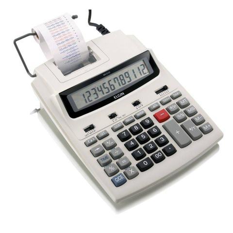 Imagem de Calculadora com bobina 12 dígitos, impressão bicolor e display lcd mr-6125 branca - Elgin
