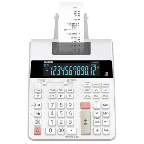 Imagem de Calculadora com bobina, display lcd, 2.0 linha , com relógio e calendário, fr-2650rc-b-dc branca