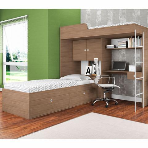 Imagem de Cama Alta Multifuncional Com Escrivaninha Escada CM9080 Art in Móveis