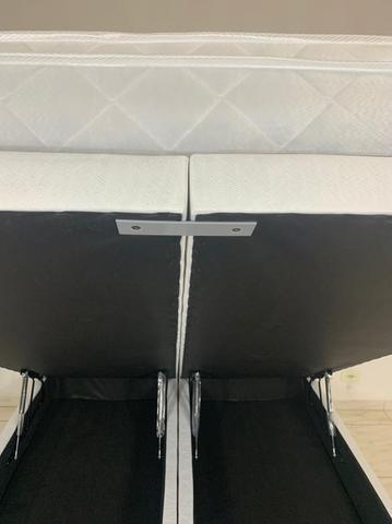 Imagem de Cama baú com colchão Queen Size molas ensacadas 1,58 x 1,98 - tecido bordado preto