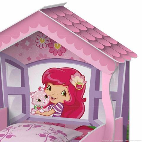 Imagem de Cama Berço Infantil para Criança Menina Rosa da Moranguinho Com Proteção na Lateral