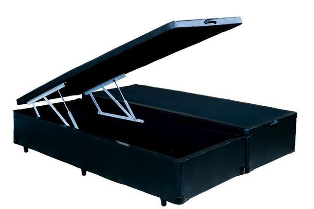 Imagem de Cama Box Bau Casal Bipartida Preta + Colchão Molas Ensacadas 1,38 x 1,88