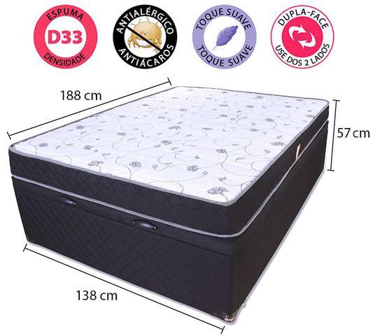 Imagem de Cama Box Baú  Casal (Box + Colchão ) D33 Antialérgico Microfibra BF Colchões 138x188x57cm