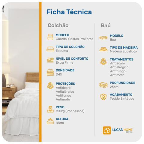 Imagem de Cama Box Baú Casal Cinza + Colchão de Espuma D45 - Probel - Guarda-Costas ProForce - 138x188x60cm