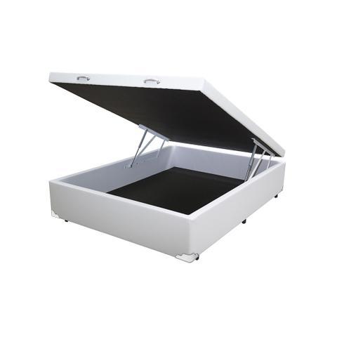 Imagem de Cama Box Baú Casal Colchão Espuma D33 Bordado + Box Sintético Branca Sp Móveis 59x138x188