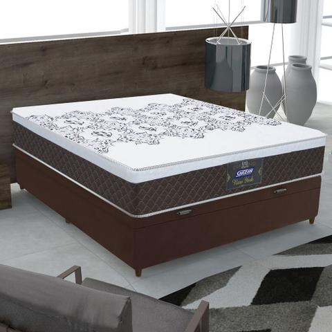 Imagem de Cama Box Baú Casal Colchão Molas Ensacadas com Euro IN New York Marrom / Branco 138x188x64cm