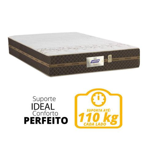 Imagem de Cama Box Baú Casal Colchão Molas Flora Marrom / Branco 138x188x60cm