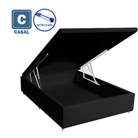 Imagem de Cama Box Baú Casal em suede preto com Pistão a gás - 138x188