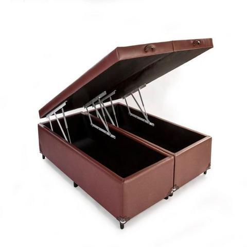 Imagem de Cama Box Bau King Bipartido 193 X 203  Suede Marrom