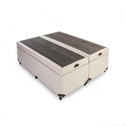 Imagem de Cama Box Bau Queen Bipartido 158 X 198   Poliester Branco