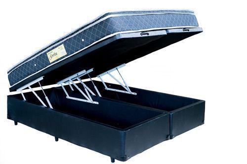 Imagem de Cama Box Bau Queen Preto + Colchão Molas Ensacadas 1,58 x 1,98
