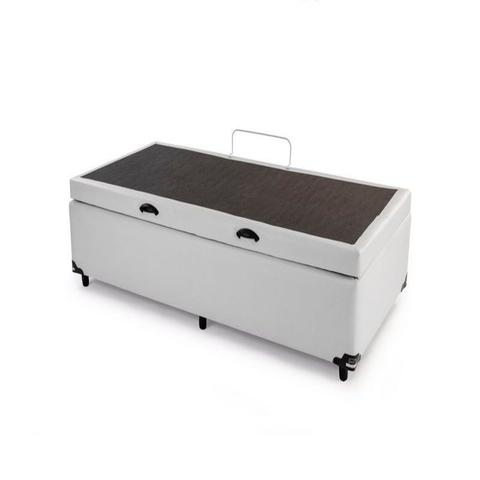 Imagem de Cama Box Bau Solteiro Luxo 88 X 188 Poliester Branco