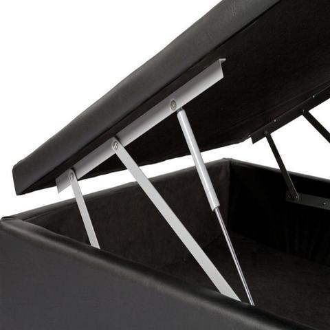 Imagem de Cama Box Bau Solteiro Luxo 88 X 188 Poliester Preto