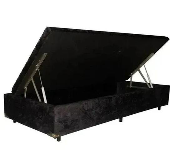 Imagem de Cama box baú solteiro suede preto -pistão a gás