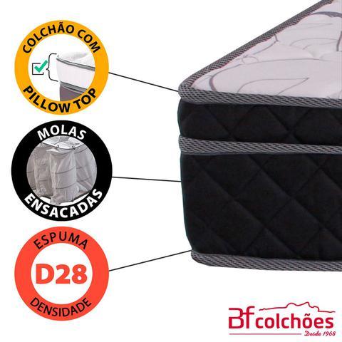 Imagem de Cama Box Casal (Box + Colchão) Molas Ensacadas Individualmente Pillow BF Colchões Certificado 138x188x21cm