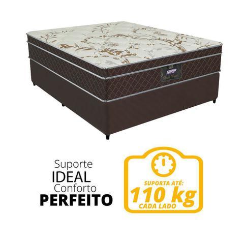 Imagem de Cama Box Casal Colchão de Molas Ensacadas Pérola Negra Gazin 138x188x70cm Marrom