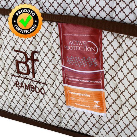 Imagem de Cama Box Casal Colchão Molas Ensacadas + Box Microfibra Marrom Bf Colchões 138x188x62cm