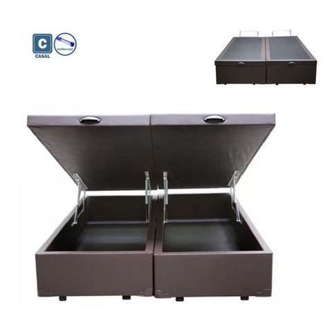 Imagem de Cama Box Casal com Bau Pistão a gás marrom Bipartido - 138x188