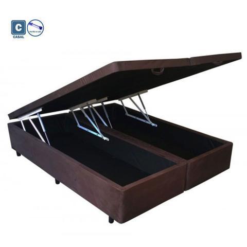 Imagem de Cama Box Casal com Bau Pistão a gás marrom suede Bipartido - 138x188