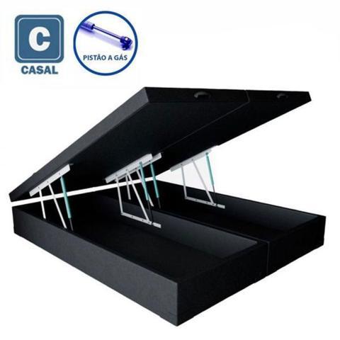 Imagem de Cama Box Casal com Bau Pistão a gás preto  Bipartido - 138x188