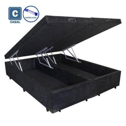 Imagem de Cama Box Casal com Bau Pistão a gás preto suede Bipartido - 138x188
