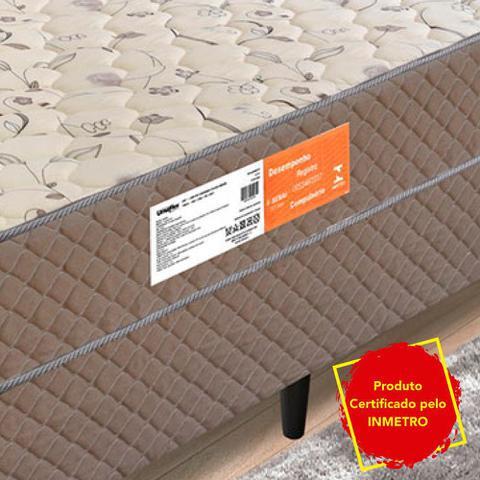 Imagem de Cama Box Casal Conjugado Molas Granada 1,38M Marrom / Bege Flor