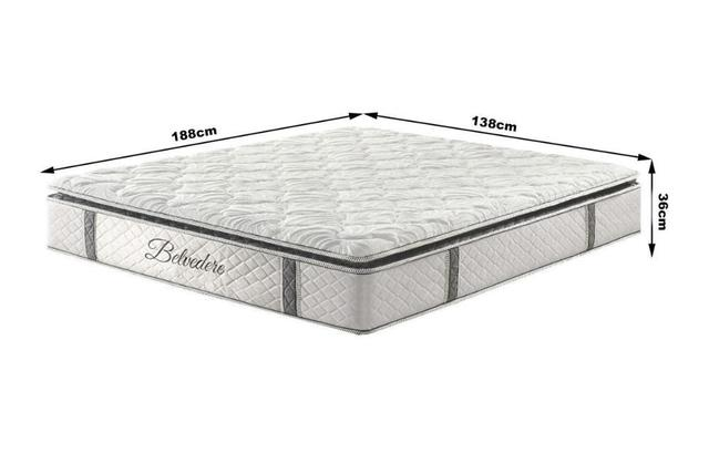 Imagem de Cama Box Casal Hellen Belvedere com Mola Ensacada PillowTop Lateral 74x138x188cm