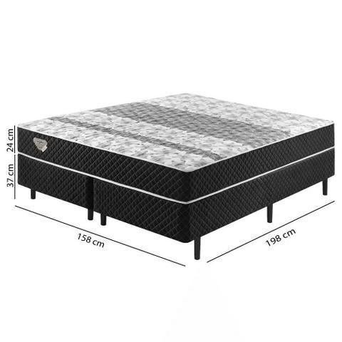 Imagem de Cama Box Casal Queen Size Soft comfort Preto - Antiácaro, Antifungo e Antialérgico - 158X198X60Cm