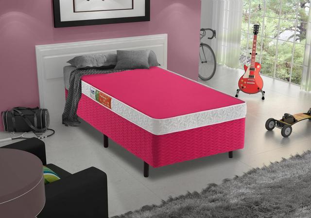 Imagem de Cama Box + Colchão Solteiro Colors Pink Espuma D-33 Celuplás