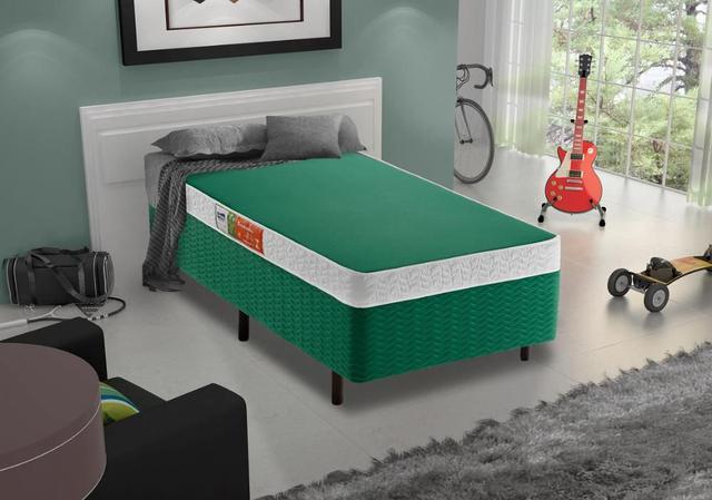 Imagem de Cama Box + Colchão Solteiro Colors Verde D-23 Celuplás