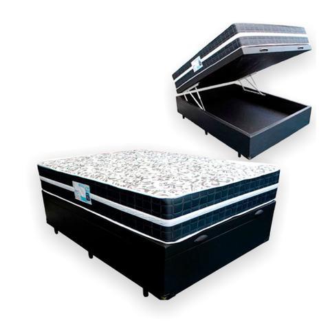 Imagem de Cama Box Com Baú Casal + Colchão De Molas - Anjos - Classic Black 138cm