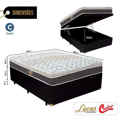 Imagem de Cama Box Com Baú Casal + Colchão De Molas Ensacadas - Castor - Híbrido One Face 138cm