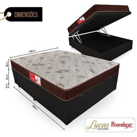 Imagem de Cama Box Com Baú Casal + Colchão De Molas - Prorelax - Cristal 138cm