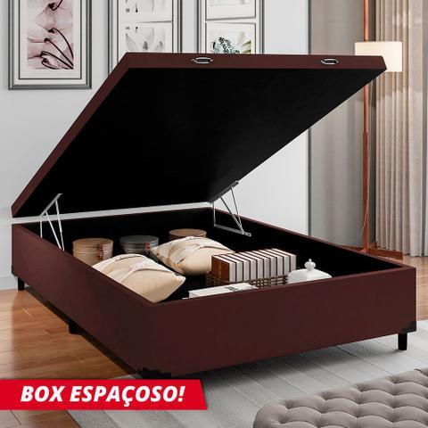 Imagem de Cama Box com Baú Casal com 38cm de Altura Prince Suede Marrom