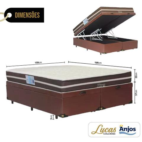 Imagem de Cama Box Com Baú Queen + Colchão De Molas - Anjos - Superlastic 158cm