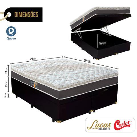 Imagem de Cama Box Com Baú Queen + Colchão De Molas Ensacadas - Castor - Híbrido One Face 158cm