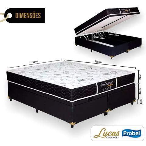 Imagem de Cama Box Com Baú Queen + Colchão De Molas - Probel - Prodormir Sleep Black 158cm