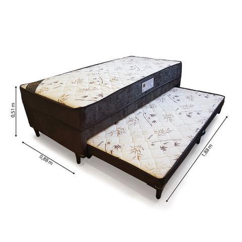 Imagem de Cama Box Conjugado Solteiro Molas com Auxiliar Espuma Sleep 0,88M Marrom