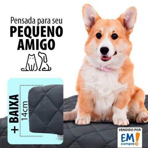 Imagem de Cama Box Pet 50x50x14cm Com Lençol Impermeável Branco Para Cachorros e Gatos - Caminha Pet - BF Colchões